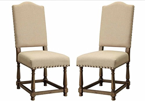1PerfectChoice Willem Set of 2 Upholstered Fabric Seat Back Dining Side Chairs w/ Nailhead Trim