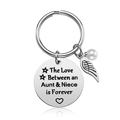 iJuqi Aunt Gift from Niece - The Love Between an Aunt and Niece is Forever Keychain Jewelry, Aunt Birthday Gifts, Christmas Gifts for Aunt, Stainless Steel (A)