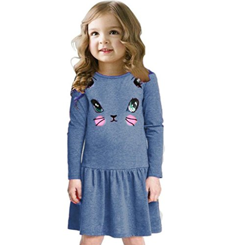 Price comparison product image 2016 Baby Girls Kids Casual Cat Printed Dresses Children Clothing Princess Dress (6 Years,  Blue)