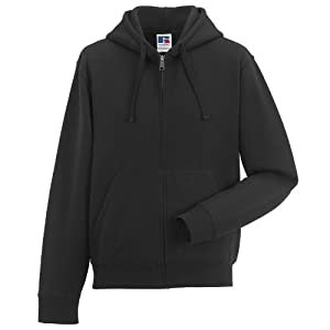 Russell Mens Authentic Full Zip Hooded Sweatshirt / Hoodie (3XL) (Black)