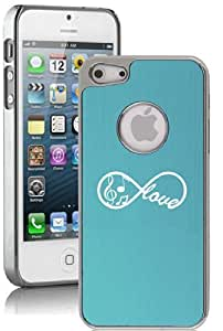 Apple iPhone 4 4s Aluminum Plated Chrome Hard Back Case Cover Infinity Love for Music (Light Blue)