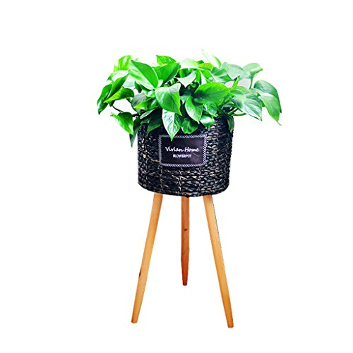 L;IAN Wooden Flower Stand, Nordic Living Room Floor Type Rattan Flower Rack Indoor and Outdoor Creative Epipremnum Aureum Plant Flower Pot Rack (Color : A, Size : Small) by L;IAN