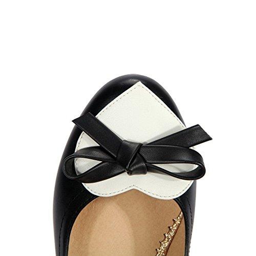 AllhqFashion Damen Ziehen auf Rund Zehe Mittler Absatz Gemischte Farbe Pumps Schuhe Schwarz