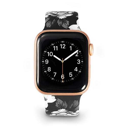 Allbingo Super Cute Bands Compatible with iWatch 40mm 44mm 38mm 42mm, Silicone Printed Pattern Women Replacement Floral Straps for Series 4/3/2/1 (Gray Flowers/Black, 38mm/40mm S/M) (4 Ladies Buckle)