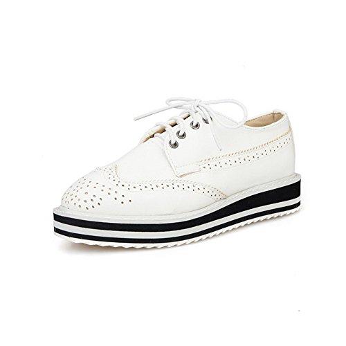 AllhqFashion Damen Schnüren Niedriger Absatz Blend-Materialien Rein Pumps Schuhe Weiß