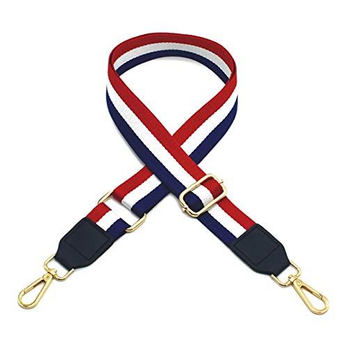 3.8Cm Wide Nylon Striped Strap Replacment Shoulder Bag Accessories Women Bag Belt Adjustable Long Handbag Strap Handle Red-White-Blue