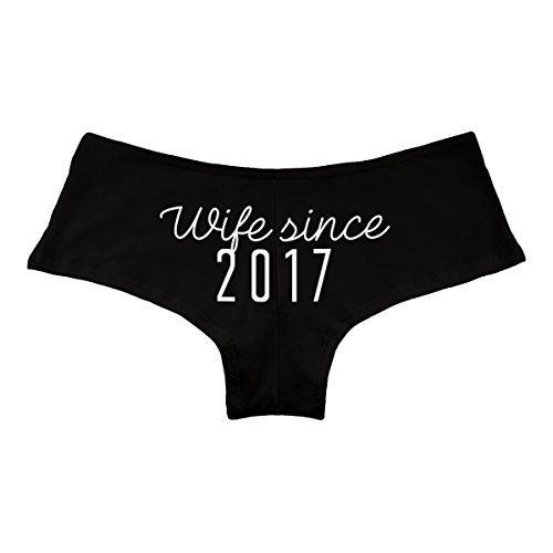 Married Boyshorts Just - Decal Serpent Wife Since 2017 Just Married Funny Women's Boyshort Underwear Panties - Black X-Large
