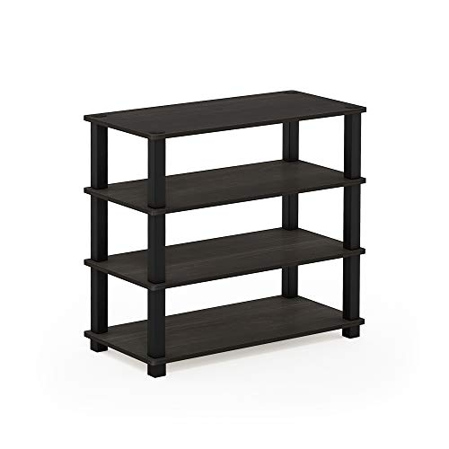Furinno 13081EX/BK Turn-S-Tube 4-Tier Shoe Rack, Espresso/Black (Skinny Shoe Bench)