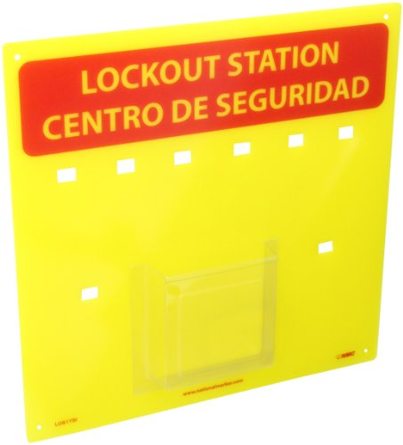 [해외]NMC LOBYBI Plexiglass 이중 잠금 장치 센터 후크가있는 배킹 보드, 길이 14, 높이 14, 옐로우 옐로우/NMC LOBYBI Plexiglass Bilingual Lockout Center Backboard with Hooks, 14  Length x 14  Height, Red Yellow