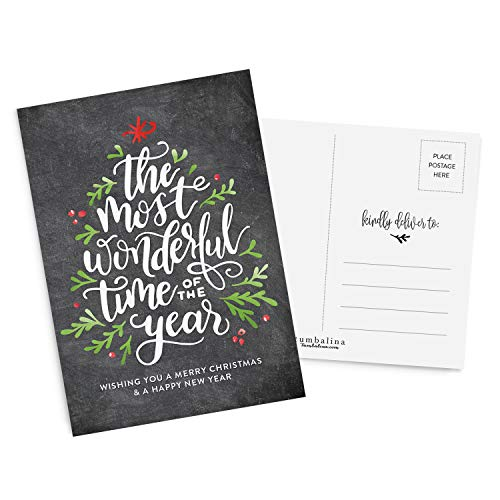 50 Holiday Postcards, Hand-Lettered Merry Christmas Blank Postcard Set, Hand-lettered Holiday Postcards, Happy New Year Postcards, Season's Greetings Postcards - Christmas Postcard