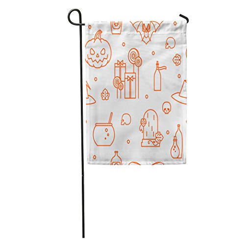 Semtomn Garden Flag Halloween Festive Pumpkin Candy Hat of Witch Cauldron Magic Potion Home Yard House Decor Barnner Outdoor Stand 28x40 Inches Flag