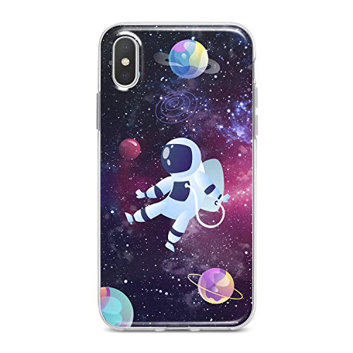 (Lex Altern TPU Case for iPhone Apple Xs Max Xr 10 X 8+ 7 6s 6 SE 5s 5 Cute Bright Drawing Astronaut Clear Pattern Amazing Galaxy Cover Silicone Protective)