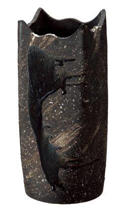 信楽焼 534-02 黒釉ビードロ角型傘立 【サイズ】W210×D210×H470 B0136W2RM2
