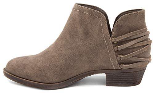 Strappy Taupe Sugar Ladies Heel Women's Block Tassels Bootie Boot Trusted Ankle with 6w1wqgYO