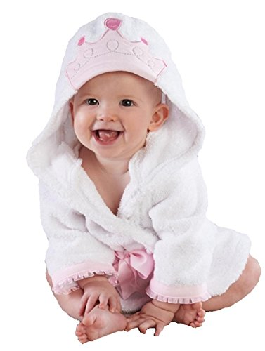 Baby Steps, The Best Princess Hooded Bathrobe & Towel, 0-9 Months. Great Infant Babies Bath Robe Shower Gift or Present for Mom of (Princess Hooded Bath)