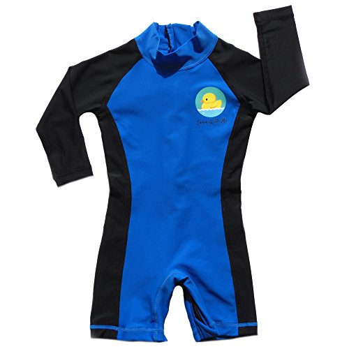 Swim with Me- SPF 50+ Sun Protection Swimsuit for Infant, Baby, Toddler 0-24 Months. (0-6 Months, Blue and (Infant Sun Protection Suit)