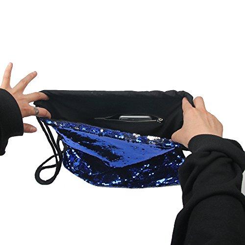 Mermaid DrawString Bag, Milsential Fashion Glitter Magic reversible Pailletten Backpack, Glitzernde Tanz Tasche, mit Reißverschlusstasche innen (Blau) Blau