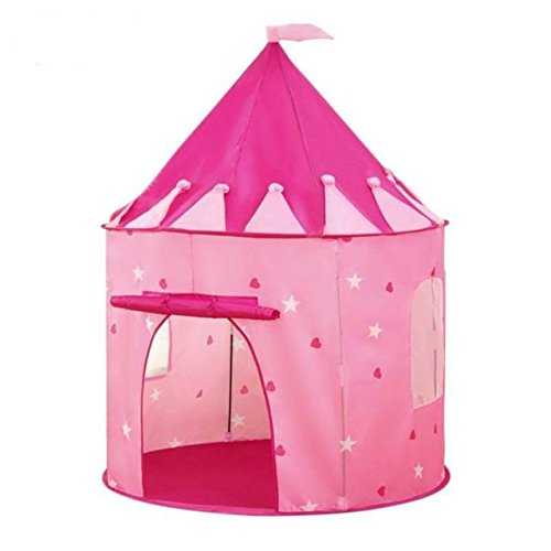 Princess Castle Play Tent with Glow in the Dark Stars, Conveniently folds in to a carrying case, Kids will enjoy this Foldable Pop Up pink play tent/house toy for Indoor & Outdoor Use (Pink Stars)