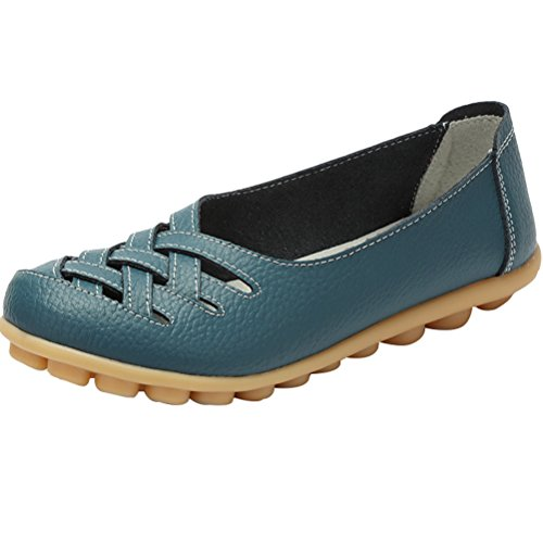 Sandals Vogstyle New Slip Moccasins Flats Women's Style ONS Leather 1 Blue Loafers qYgrq