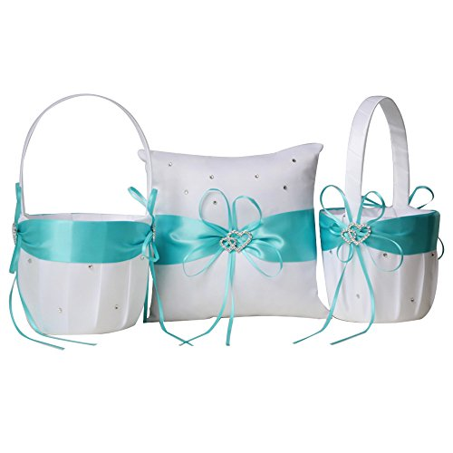 Flower Girl Basket Set - Awtlife 3 Set two Flower Girl Basket and one Ring Pillow Decor Aqua Blue Double Heart Rhinestone Elegant Wedding Ceremony Party Favor