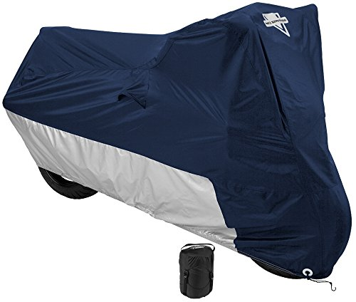 Nelson-Rigg Deluxe Motorcycle Cover, Weather Protection, UV, Air Vents, Heat Shield, Windshield Liner, Compression Bag, Grommets X-Large fits Medium Cruisers W/Accessories and Sport Touring bikes