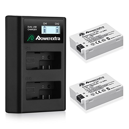 Powerextra 2 Pack Replacement Canon LP-E8 Battery and Smart LCD Display Dual USB Charger for Canon Rebel T3i, T2i, T4i, T5i, EOS 600D, 550D, 650D, 700D, Kiss X5, X4, Kiss X6 Digital Camera