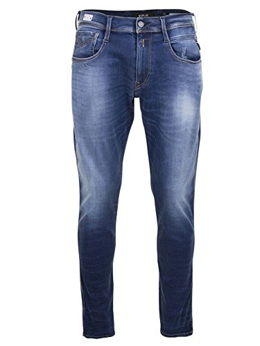 Replay Mens Anbass Hyperflex Jean in Washed Blue W36 x L30