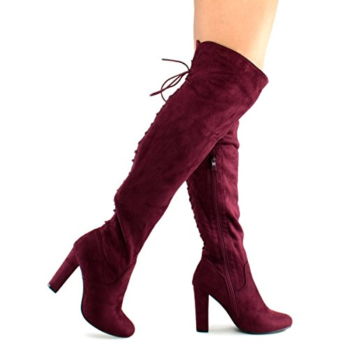 Premier Standard Women's Thigh High Stretch Boot - Trendy High Heel Shoe - Sexy Over The Knee Pullon Boot - Comfortable Easy Heel Wine 7 by Premier Standard