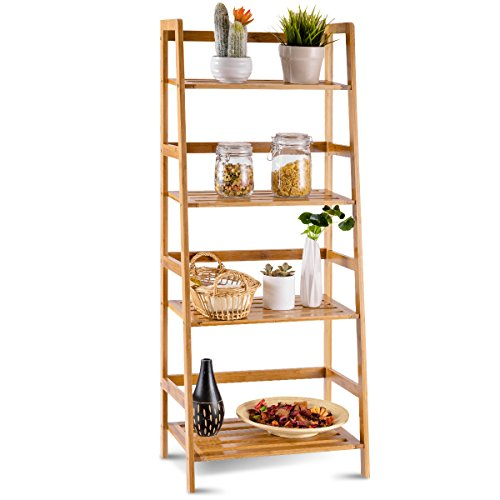 Rack Ladder Magazine (COSTWAY 4 Tier Bamboo Ladder Shelf Multifunctional Plant Flower Display Stand Storage Rack Bookcase Bookshelf Natural, 47.5