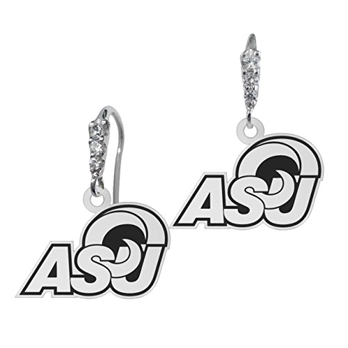 Angelo State Rams Graduated Cz and Sterling Silver Logo Drop Earrings with Antique Background by College Jewelry