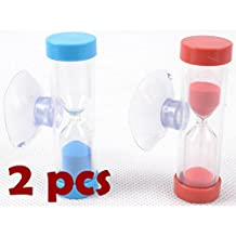 2 pcs Mini Hourglass for Shower Timer/Teeth Brushing Timer with Suction Cup