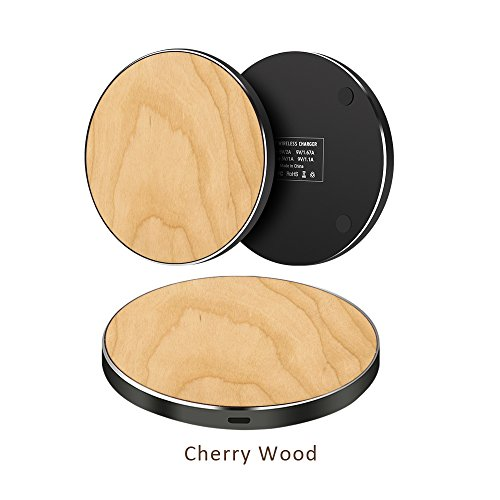 Wooden Wireless Charger with Aluminium base Fast charging Pad for Samsung Galaxy Note8 S8 S8 Plus S7 S7 Edge, Standard Charge for iPhone 8 8 Plus X and Qi Enabled Devices (Cherry) - Iphone 3g Cherry