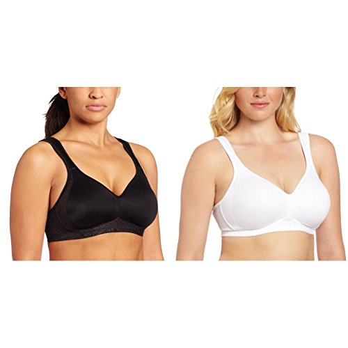 (Playtex Women's 2 Pack 18 Hour Seamless Smoothing Bra, Black/White, 44DD)