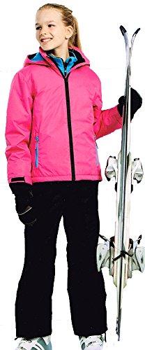 Pocopiano Mädchen Skianzug 2tlg. Funktioneller Skianzug Schneeanzug pink/schwarz 128
