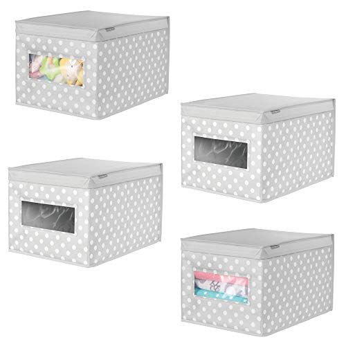 mDesign Soft Stackable Fabric Closet Storage Organizer Holder Box - Clear Window, Attached Hinged Lid, for Child/Kids Room, Nursery, Playroom - Polka Dot Print - Large, 4 Pack - Gray with White Dots