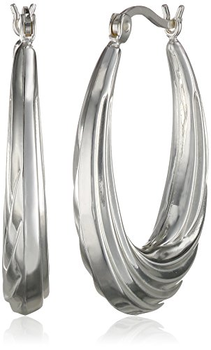 Sterling Silver Silver-Plated Lightweight Twist Hoop Earrings - Silver Plated Twist