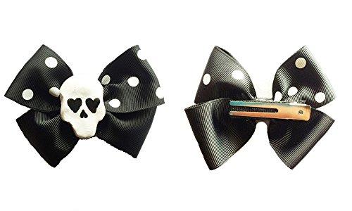 Skull Polka Dot Hair Bow (1pc)