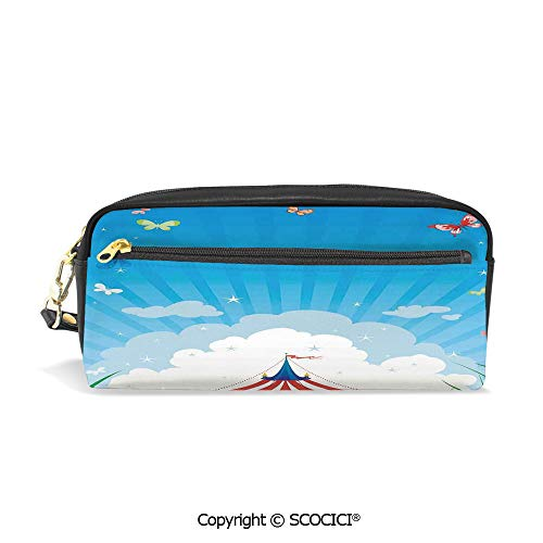 Fasion Pencil Case Big Capacity Pencil Bag Makeup Pen Pouch Travelling Circus Tent with Clouds Butterflies and Clear Sky Festival Happiness Durable Students Stationery Pen Holder for School