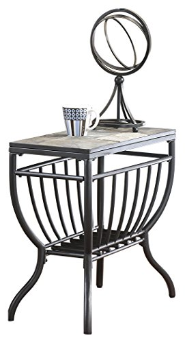 - Ashley Furniture Signature Design - Antigo Chair Side End Table - Contemporary - Slate Top with Metal Bottom - Black