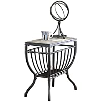 Ashley Furniture Signature Design - Antigo Chair Side End Table - Contemporary - Slate Top with Metal Bottom - Black