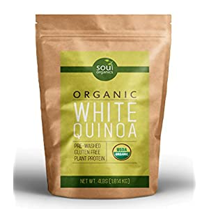 Organic White Quinoa - 4 lbs Bulk - Premium Quality Whole Grain - 100% USDA Certified, Gluten-Free, Non-GMO, Kosher, & Fair Trade, Comes Pre-Washed!