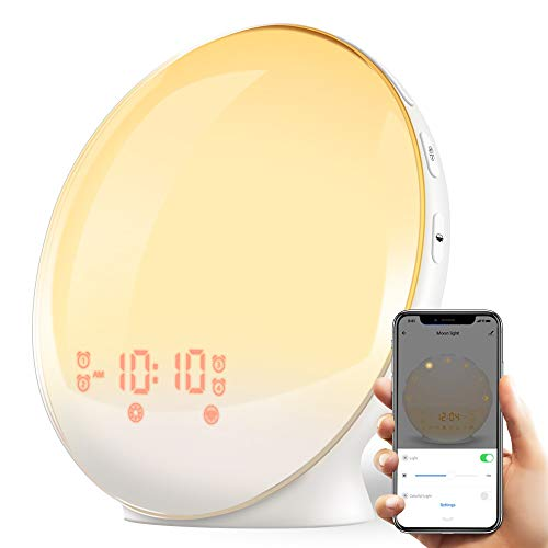 Smart Wake Up Light, TITIROBA Sunrise Alarm Clock APP Control 4 Alarms Clock FM Radio Digital LED with Snooze Sleep Aid Function Desk Night Light USB Charge Port for Bedrooms AM/PM