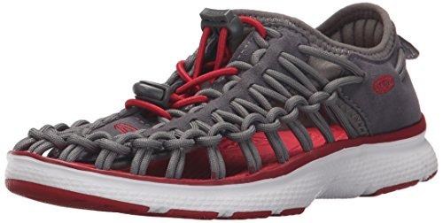 KEEN Unisex-Kids Uneek O2 Dress Sandal, Magnet/Tango Red, 2 M US Big Kid