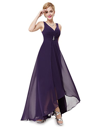 Ever PrettyTM Double V-Neck Rhinestones Ruched Bust Hi-Lo Evening Dress 09983