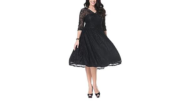 Adelina Vestidos De Fiesta para Bodas Elegantes Años 50 Vintage Encaje  Swing Vestidos De Coctel Manga 3 4 V Cuello Talle Alto hasta La Rodilla  Vestido ... c95e70d69fb6