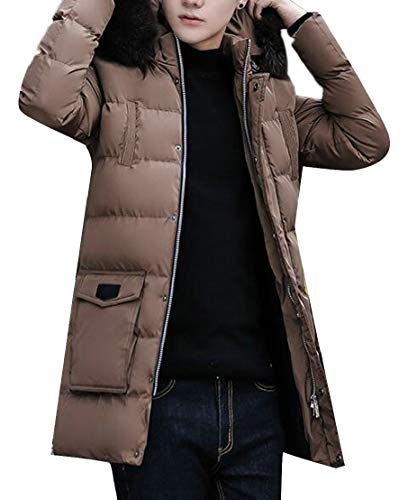 TTYLLMAO Outdoor Camel Thick with Jacket Puffer Fur Down Hoodie Coats Winter Fax Mens rqAxRar