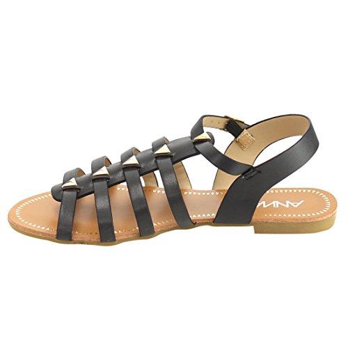 Anna If20 Sandalo Piatto Da Donna Con Fibbia A Strappo In Gabbia Nera