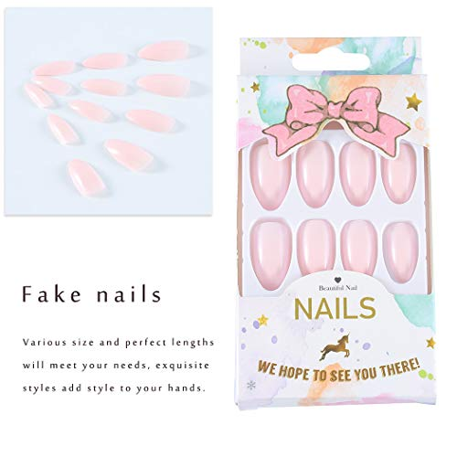 Dresbe Glossy Long Fake Nails Light Pink Press on Faux Nails Almond False Nails Full Cover Fake Nail Artificial Acrylic Nail for Women and Girls(Pack of 24)