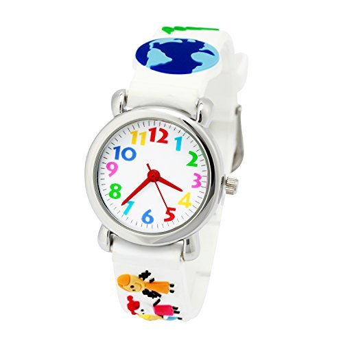 ELEOPTION Waterproof 3D Cute Cartoon Digital Silicone Wristwatches Time Teacher Gift for Little Girls Boy Kids Children (White History)