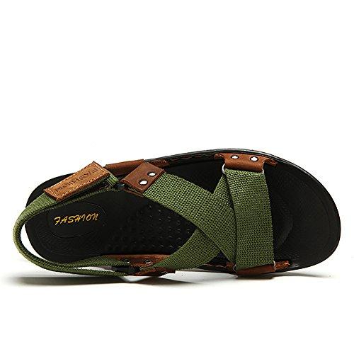 Semplice estiva Verde Spiaggia 42 dimensioni Pantofola Uomo Intrecciate Nero All'aperto Camping Scarpe Colore ZJM Sandalo Cintura pxAwqfxvg